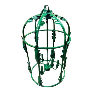 Huge Kelly Green Palm Beach Regency Iron Foyer Leaf Design 6 Light Chandelier For Sale