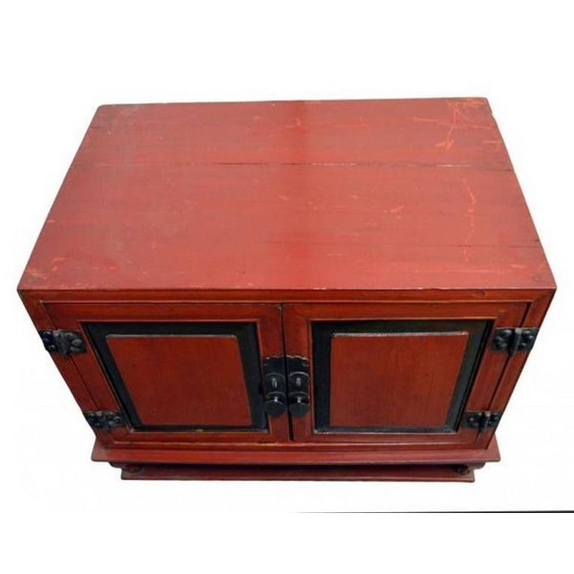 Mid 19th Century Antique Red Lacquer Bedside Cabinet with Hardware from Mid 19th Century China For Sale - Image 5 of 8