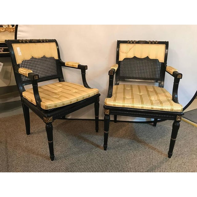Gold Hollywood Regency Ebony & Gilt Gold Arm Chairs Attributed Maison Jansen - A Pair For Sale - Image 8 of 10