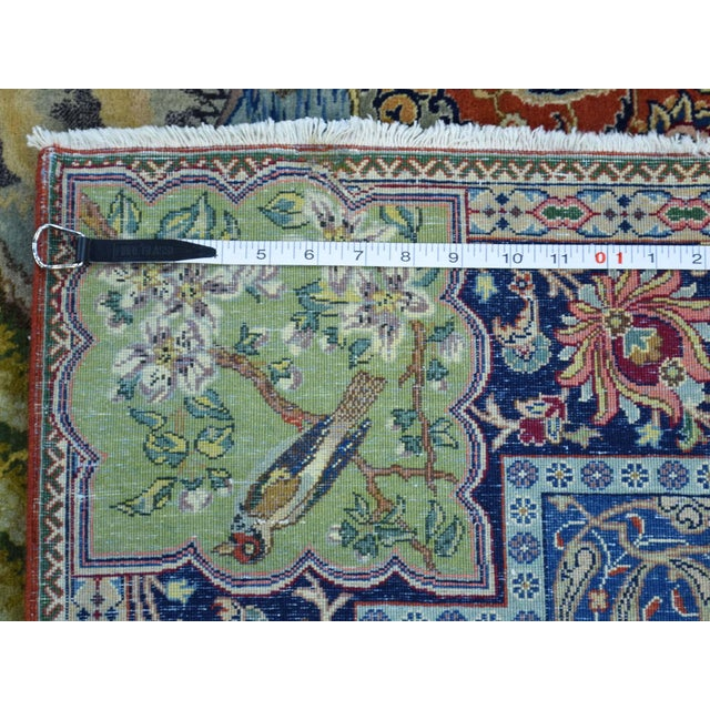 Antique Persian Tabriz Pictorial Rug- 4′7″ × 5′4″ For Sale - Image 11 of 13