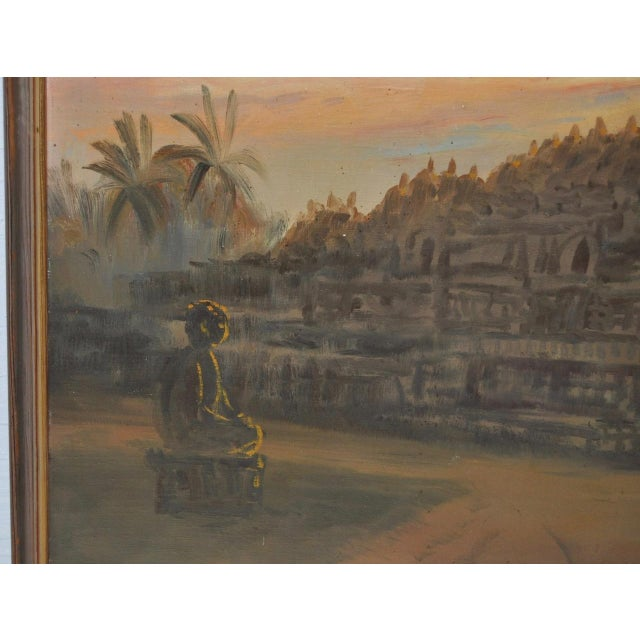 Masonite Mid-Century Javanese Temple Oil Painting by Frederik Kasenda C.1950s For Sale - Image 7 of 9