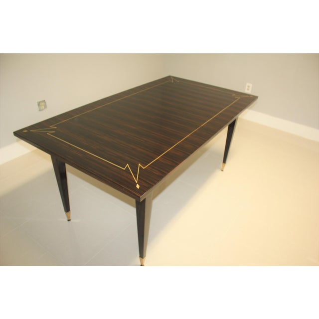 Gold 1940s French Art Deco Exotic Macassar Ebony Writing Desk / Dining Table For Sale - Image 8 of 13