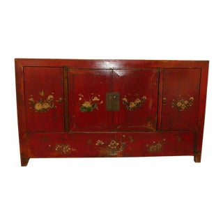 20th Century Asian Mongolian Paint Decorated Credenza Chest For Sale