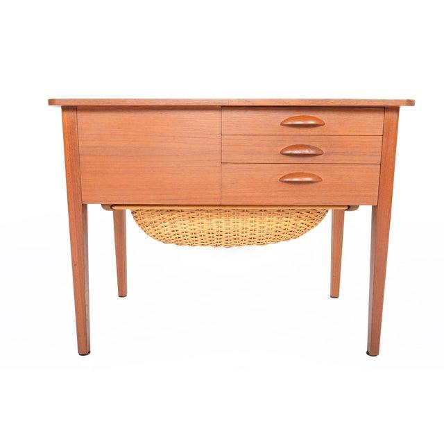 Danish Modern Teak Sewing Box With Basket For Sale