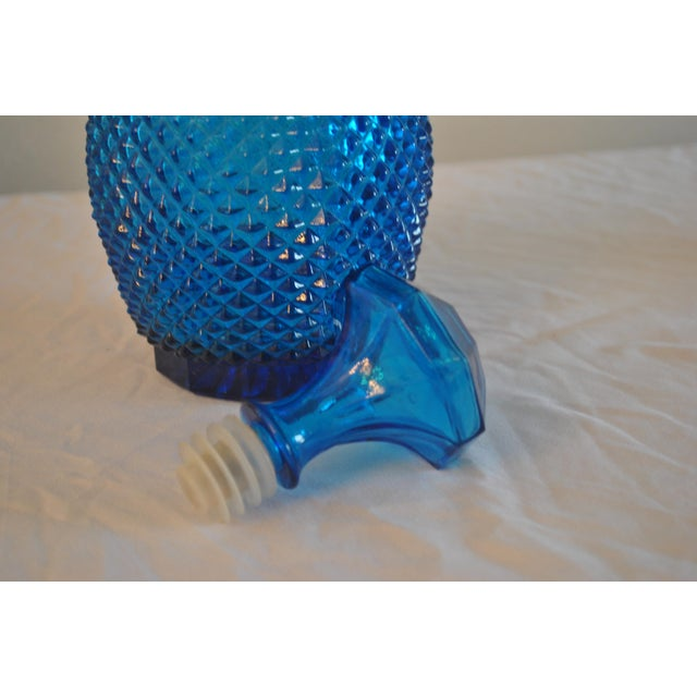 Contemporary Empoli Mid-Century Ice Blue Diamond Point Decanter For Sale - Image 3 of 4
