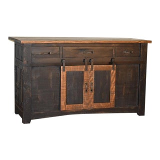 Crafters and Weavers Greenview Kitchen Island - Distressed Black For Sale