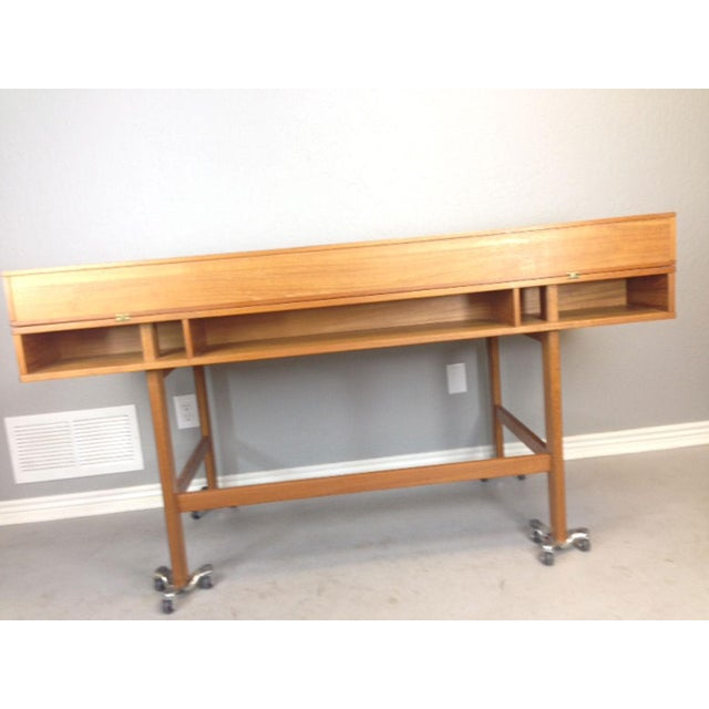 Brown Jens Quistgaard Flip-Top Console Desk in Teak For Sale - Image 8 of 9