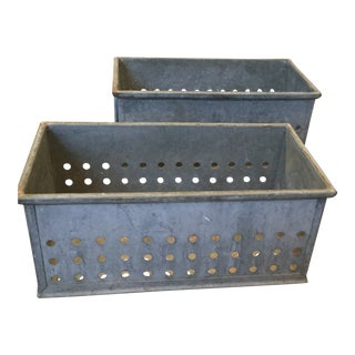 1980s Vintage Galvanized Perforated Bins - a Pair For Sale