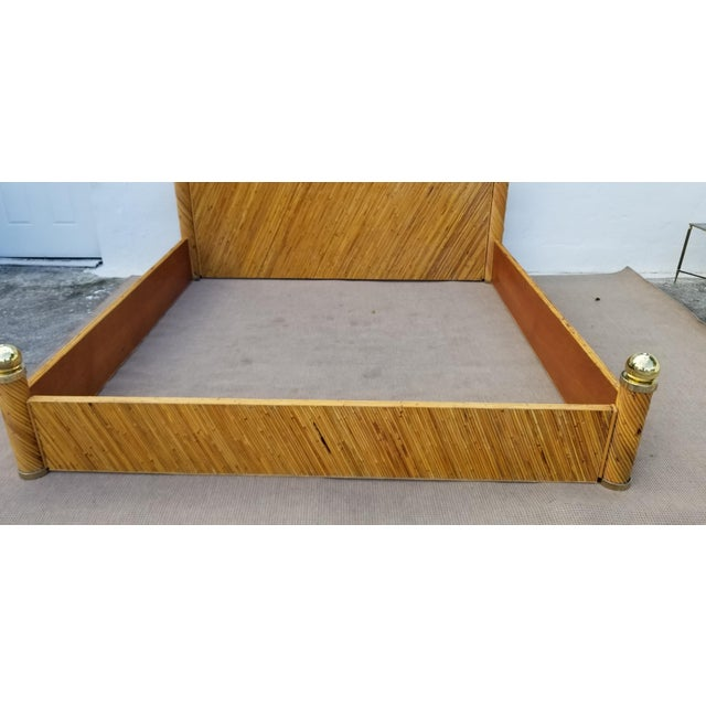1970s Vintage Marcello Mioni Pencil Reed Rattan & Brass King Bed Frame For Sale - Image 10 of 12