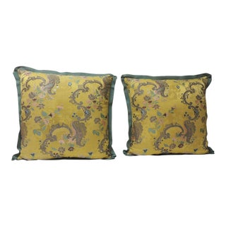 Pair of 18th Century Green and Gold Brocaded French Silk Decorative Pillows For Sale