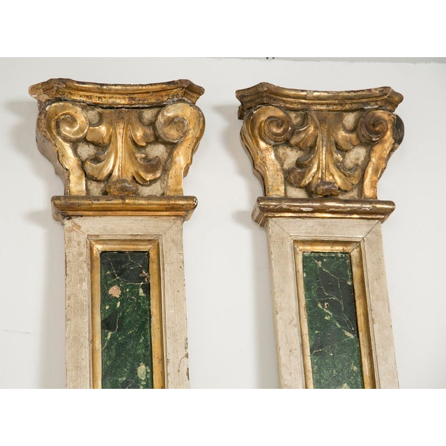 A very decorative set of pilaster made Italy during the 19th century. The capitals and some moldings gilt in mecca. The...