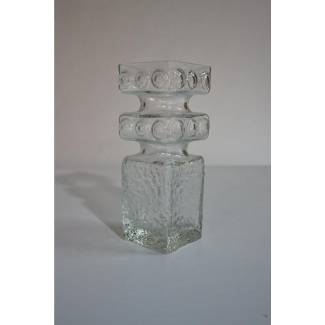 Superb mid-century modern clear bubble art glass vase designed by Finish artist, Helena Tynell.