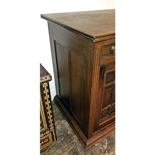 Brass 19th Century English Oak Cabinet For Sale - Image 7 of 10