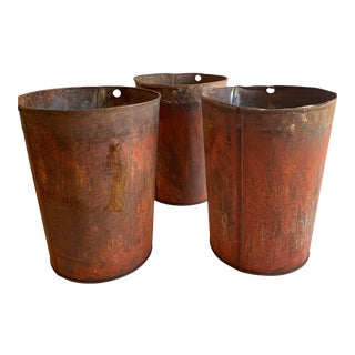 1940s Rustic Aluminum Sap Buckets - Set of 3 For Sale