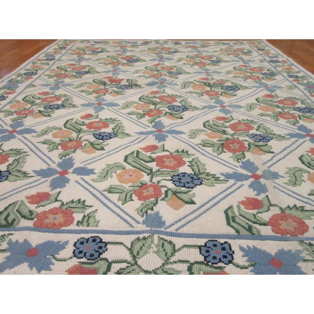 Handmade Needlepoint Rug - 6' x 9' For Sale - Image 5 of 7