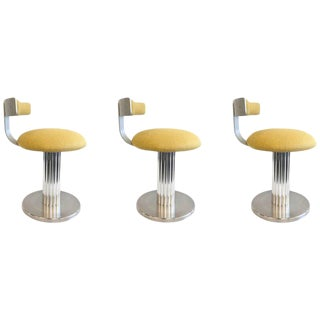 Set of Three Aluminium Swivel Stools by Design for Leisure Ltd For Sale