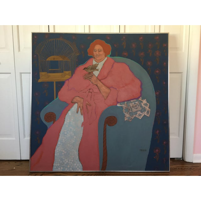 "1970s Impressionism Original Acrylic Painting on Canvas, ""Lady With Bird"" by Leslie Trewyn For Sale - Image 10 of 10"
