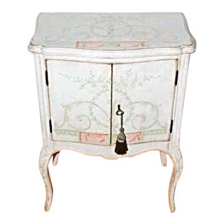 Custom Hand Painted White Venetian Nightstand For Sale
