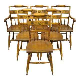 Vintage L. Hitchcock Stenciled Farmhouse Harvest Dining Chairs-Set of 6 For Sale