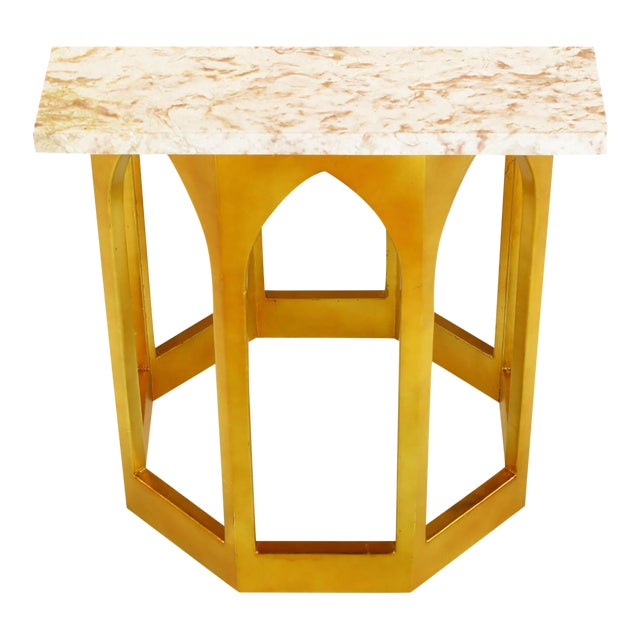 Marble Top Console Table with Twin Gilt Octagonal Bases - Image 1 of 7