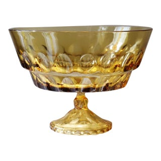 Mid-Century Amber Glass Pedestal Bowl For Sale