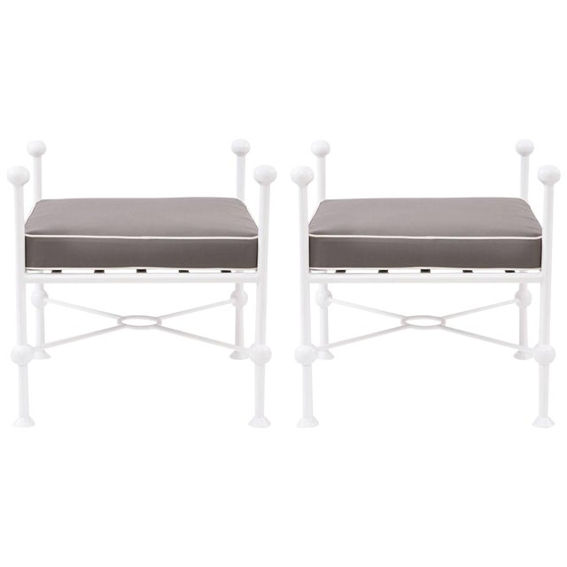 Pair of Iron and Upholstered Ottomans For Sale