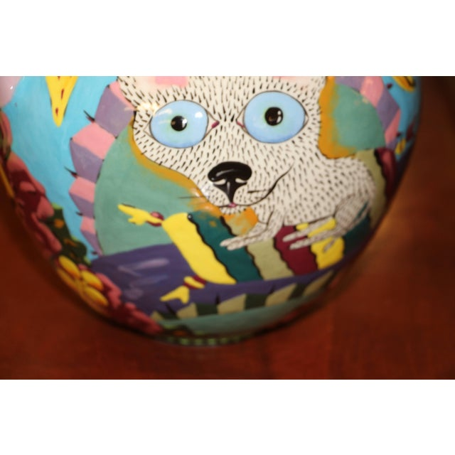 David Gurney Whimsical Glazed Vessel With Cat For Sale In Palm Springs - Image 6 of 8