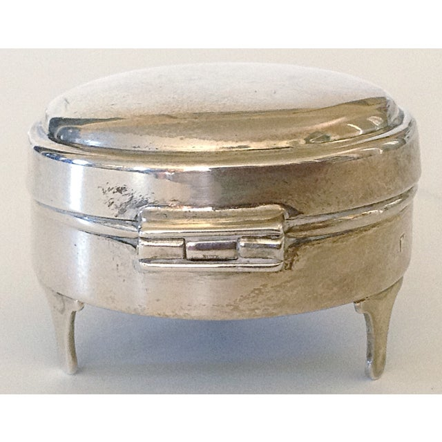 Queen Anne English Sterling Round Box For Sale - Image 3 of 6