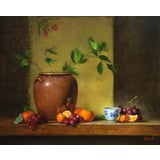Image of Tangerines & Grapes Still Life Oil Painting For Sale