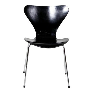 1990s Vintage Arne Jacobsen for Fritz Hansen Black Series 7 Side Chair For Sale