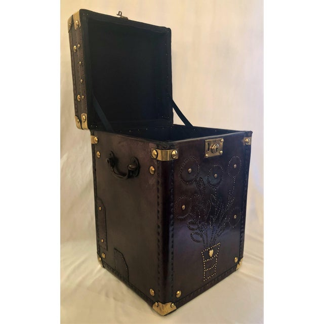 Antique English Leather Military Campaign Trunk / Luggage. For Sale - Image 4 of 6