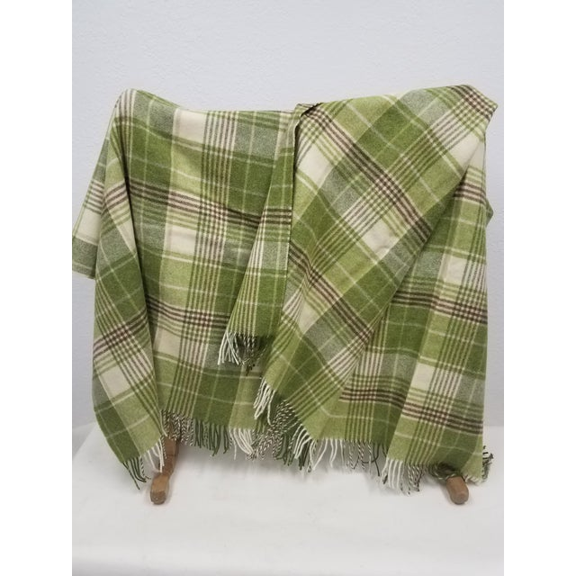 2020s Merino Wool Throw Greens Brown and White Plaid - Made in England For Sale - Image 5 of 11