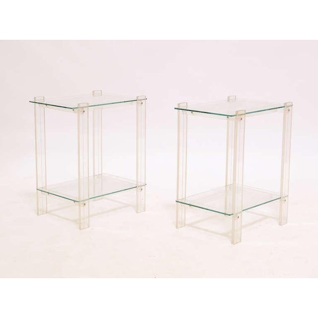 Pair Of Lucite And Glass End Tables/ Night Stands - Image 5 of 7