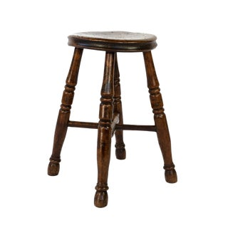 Round Fruitwood Work Stool With Four Turned Legs, Circa 1870 For Sale