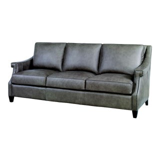 Century Furniture Ramsey Sofa, Ash Leather For Sale