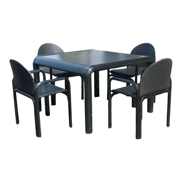 Vintage Knoll Gae Aulenti Dining Table & Leather Chairs - Image 2 of 11