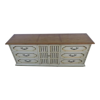 Hollywood Regency Long Painted Two Tone Dresser Tv Console For Sale