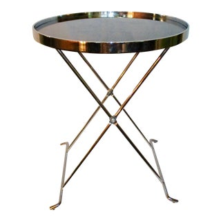 Modern Black Glass and Chrome Steel Table For Sale