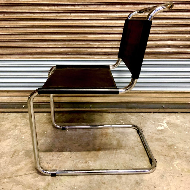Vintage Mid Century Mart Stam Leather and Chrome Cantilever Chairs- A Pair For Sale In Sacramento - Image 6 of 13