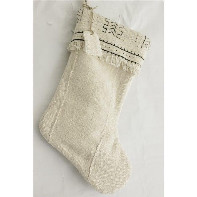 White Mudcloth Christmas Stocking - Image 6 of 6