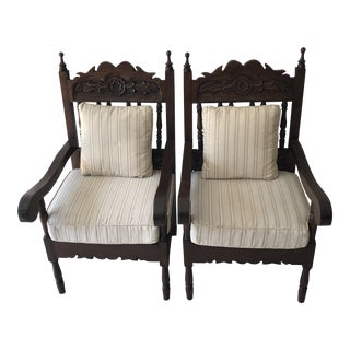1980s Vintage Mediterranean Chairs- A Pair For Sale