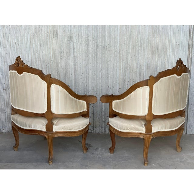 Late 19th Century Pair of Italian Rococó Louis XV Fauteuils or Slipper Chairs For Sale - Image 5 of 12