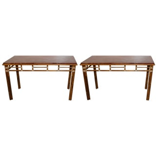 Pair of McGuire Bamboo and Rouge Marble-Top Console or Sofa Tables For Sale