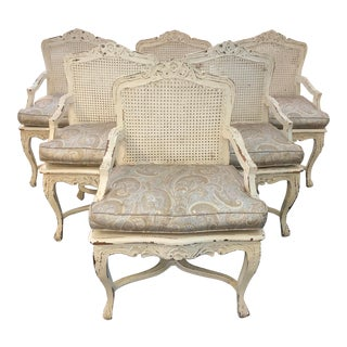 Late 20th Century French Provincial Cane Armchairs- Set of 6 For Sale