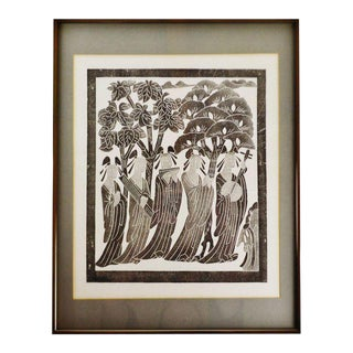 Vintage Framed Black & White Asian Woodblock Engraving For Sale