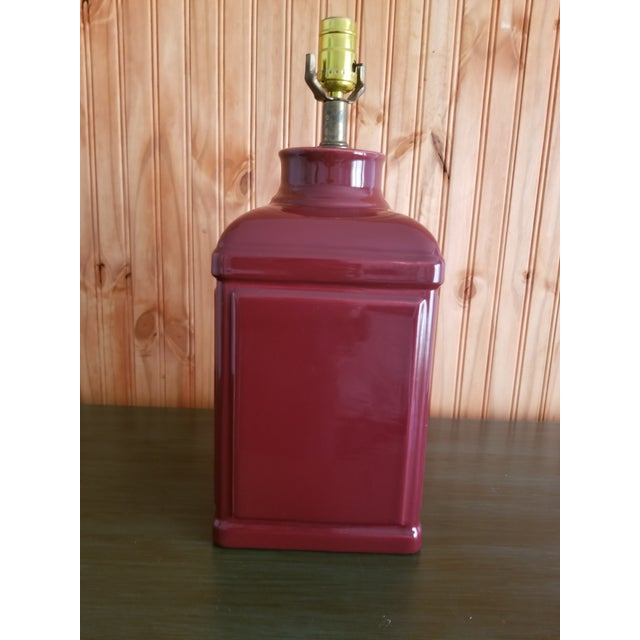 1970s Red Glass Square Body Table Lamp For Sale - Image 4 of 6