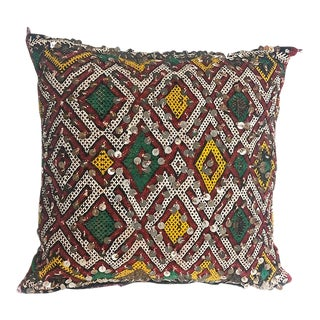 "Vintage Moroccan Diamond Sequined Pillow - 16"" Sq For Sale"