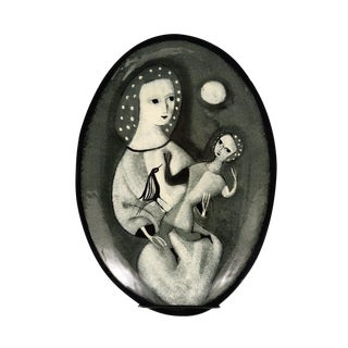 Black & White Painted Ceramic Plate For Sale