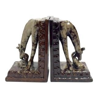 Terracotta Giraffe Bookends, a Pair For Sale