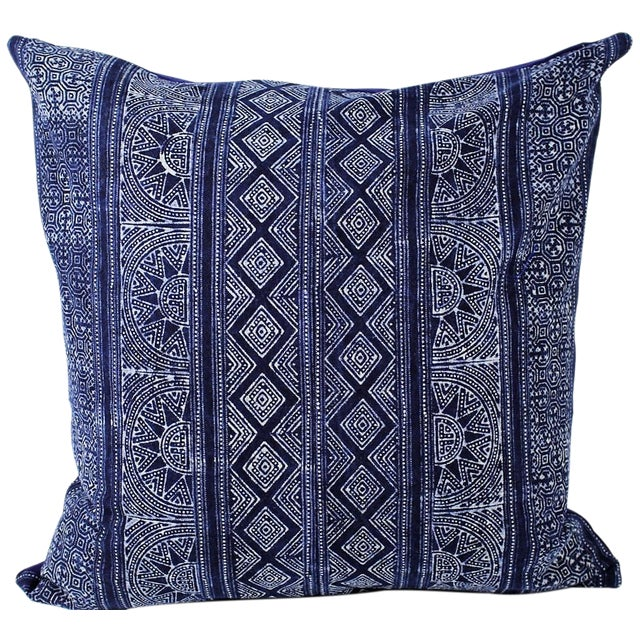 Sunray Hmong Indigo Batik Handmade Pillow Cover - Image 1 of 4